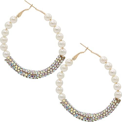 Goldtone Iridescent Crystal Beaded Mini Hoop Earrings