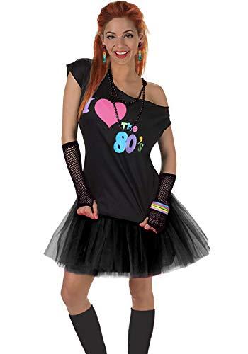 Fun Daisy Clothing Damen I Love The 80er Jahre T-Shirt 80er Jahre Outfit Zubehör, Schwarz - UK 14-16 / M-L