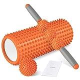 HBselect Rullo Massaggio Muscolare Set 3 in 1 Kit Fitness Foam Roller in Schiuma Spiky Ball Bastone Massaggio Rilascio Miofasciale Allevia Affaticamento Massaggiatore Ortopedico Ergonomico