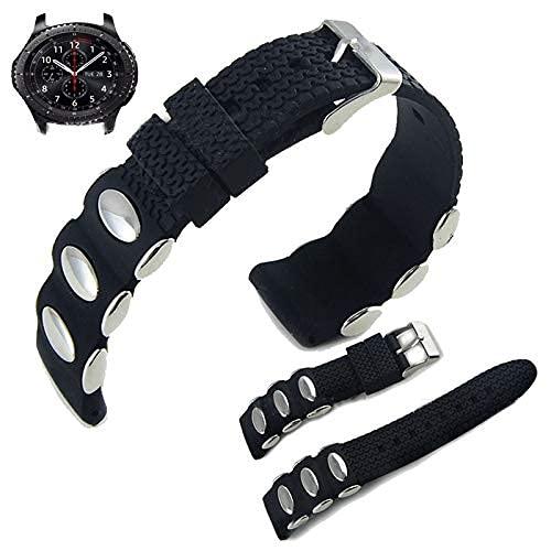 YYCHER 26 22 24 mm Silikon-Armband für Samsung Galaxy Active Watch Gear S3 Gear Sport Moto 360 Uhrenarmband, Stahlarmband (Farbe: 22 mm)