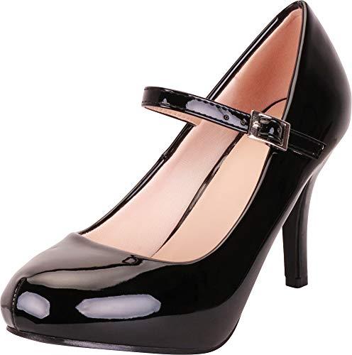 Cambridge Select Women's Mary Jane Hidden Platform Stiletto High Heel Pump,8.5 B(M) US,Black Patent PU