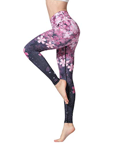 HAPYWER Yoga Leggings Damen Hohe Taille Sporthose Muster Trainingshose Fitnesshose Tummy Control für Laufen Yoga Workout (Kirschblüte, M)