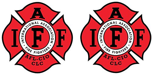 Fire Fighters International Association IAFF 4 INCH RED Vinyl Decal Sticker Set of Two (2X)