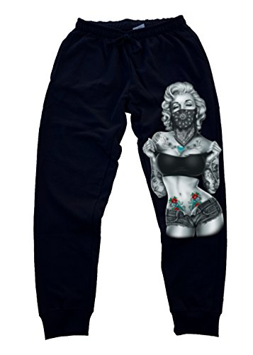 Marilyn Monroe Standing Bandana Men's Jogger Training Black Pants Running Fitted (M, Black)