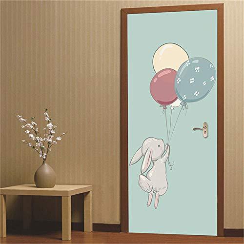 WANGWEIZHEN 3D Deur muursticker Deur Voor Woonkamer 95X215CM Cartoon Konijn Spelen Met Ballonnen Kinderen Kinderkamer Verwijderbare Vinyl Zelfklevende Muursticker Art Home Decoratie