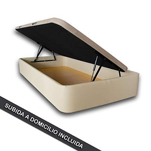 Ventadecolchones - Canapé Modelo Serena Gran Capacidad Apertura Lateral tapizado en Tela Antimanchas Essence Gris Perla Medidas 90 x 190 cm con Tapa en Tejido 3D