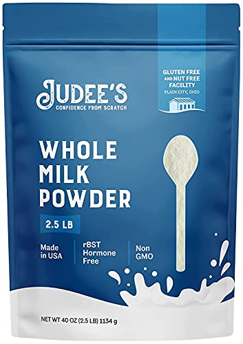 Judee's Whole Milk Powder 2.5lb (40oz) - 100% Non-GMO, rBST Hormone-Free, Gluten-Free & Nut-Free - Pantry Staple, Baking Ready, Great for Travel, and Reconstituting - Made in USA