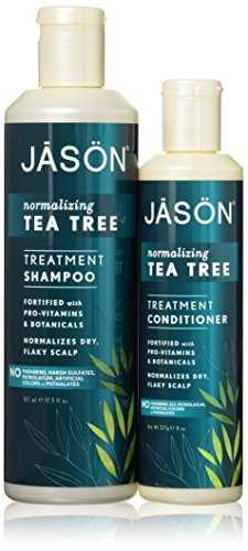 JASON All Nautral Organic Normalizing Tea Tree Shampoo and Conditioner Bundle For Flaky Scalp and Dandruff With Aloe Vera and Chamomille, Paraben Free, Vegan, Sulfate Free, 17.5 & 8 fl oz