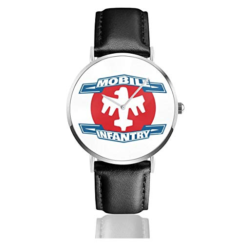 Unisex Business Casual Mobile Infanterie Logo Starship Troopers Uhren Quarz Leder Uhr mit schwarzem Lederband für Männer Frauen Junge Kollektion Geschenk