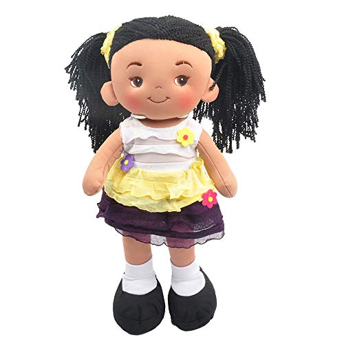 "Linzy Plush 16"" Yellow Aissa Doll Soft Rag Doll"