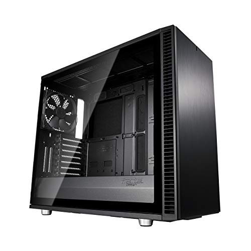 Fractal Design Define S2 Blackout, Tempered Glass, PC Gehäuse (Midi Tower mit Seitenteil aus gehärtetem Glas) Case Modding für (High End) Gaming PC, schwarz