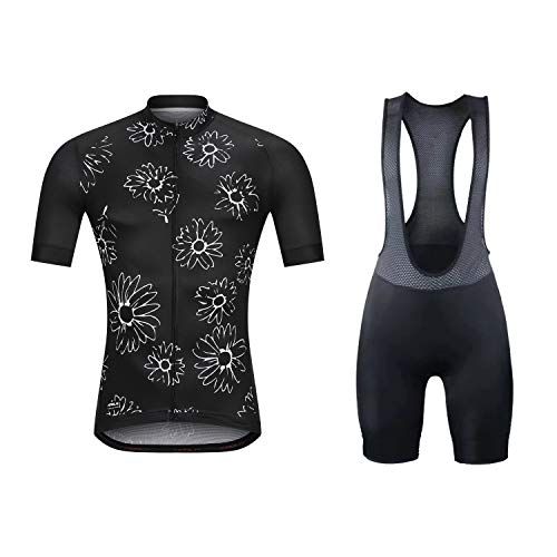 Aipeilai Men's Short Sleeves Cycling Jersey Set Road Bike Bib Jersey Suit Cycle Shorts with 3D Gel Padded - Black - S