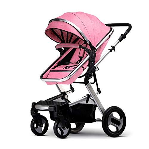 KHUY Cochecito Bebe Plegable Ligero con Pieza Caliente y Caliente Cubierte Lluvia, Baby Jogger Silla de Paseo Niño Cochecas de Carro para Bebés con Neumáticos de Goma (Color : Pink)