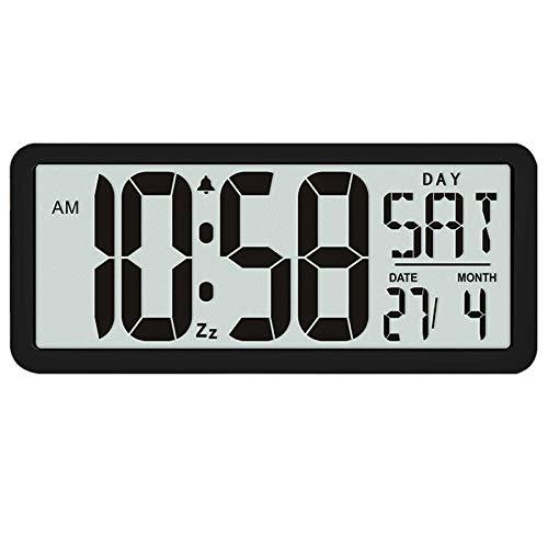 fdhdfh Reloj Despertador Jumbo Digital Grande Cuadrado de 13,8 Pulgadas Pantalla LCD Decoración de Escritorio de Oficina de Lujo Multifuncional Negro