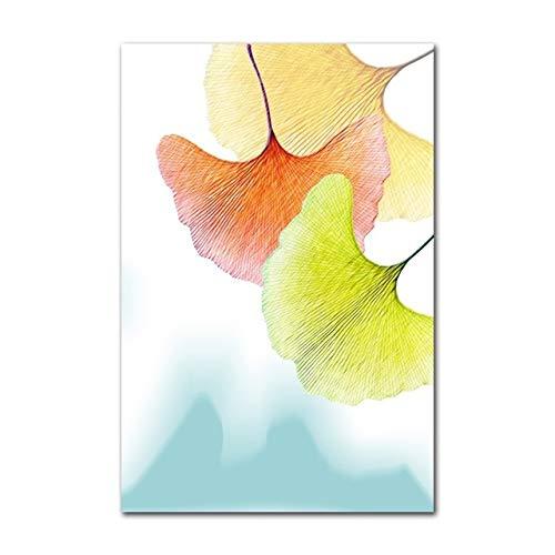 Preisvergleich Produktbild WSWWYModerne Kühle Farbe Ginkgo Blatt Pflanze Leinwand Malerei Wohnzimmer Aquarell Nordic Poster Wohnkultur Wandkunst Bilder A 70x100 cm Kein Rahmen