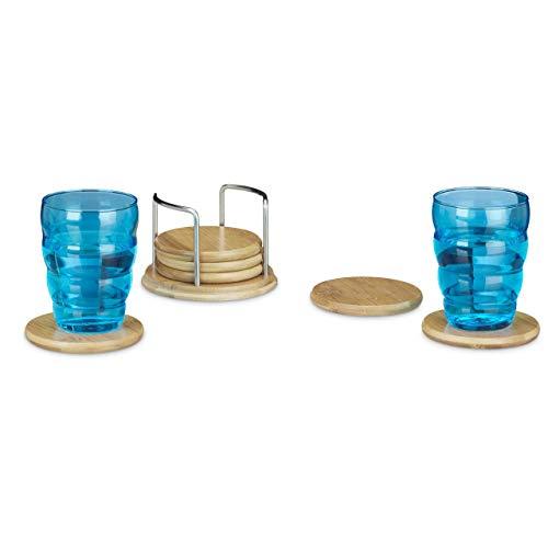 Relaxdays Untersetzer 7er Set rund, 6 Glasuntersetzer mit Halter, Holzuntersetzer für Gläser, Bierdeckel aus Bambus ca. 9,5 cm Durchmesser, natur
