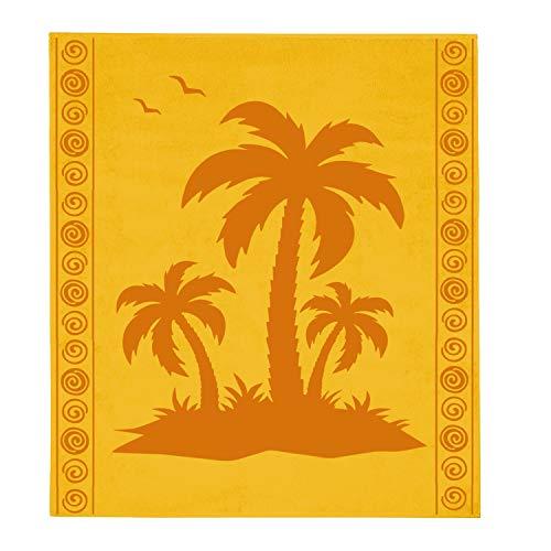 Delindo Lifestyle® Tropical Toalla de playa, XXL, 100% algodón, 180 x 200 cm, diseño de palmera, color amarillo
