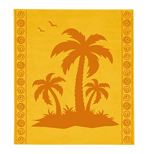 Delindo Lifestyle® - Telo mare in spugna Tropical XXL, motivo: palma, colore: giallo,...