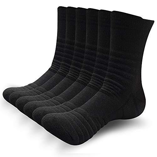 SUNWIND Unisex 6 Paar Sportsocken Atmungsaktiv Gepolsterte Lauftrainer Crew Socken Komfortable Athletische Wadensocken für Herren & Damen (Schwarz, UK 6-8 (EU 39-42))