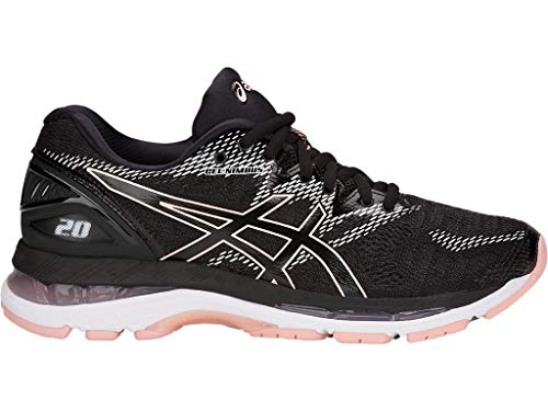 ASICS Women's Gel-Nimbus 20 Running Shoes, 8M, Black/Frosted Rose