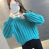 STRAW Suéter de otoño for Mujer Ropa de Mujer, Camisa de Punto de Punto Femenino y suéter de Desgaste de otoño (Color : Blue, Size : L Code)