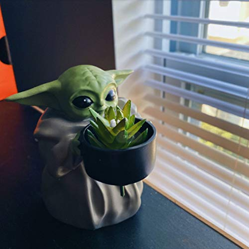 FA.cbj3 Mini Baby Yoda Planter Pot,Flower Pot with Hole Birthday Gift Home Decor