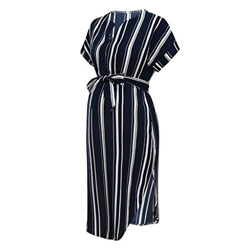 Jeash Women's High-Low Stripe Maternity Dress with Waist Belt (Navy, S)