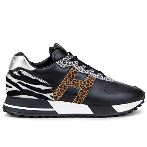 Hogan - Zapatillas deportivas para mujer H383, color negro y multicolor Animalier - HXW3830CR00 O8B0PSA - Talla Multicolor Size: 36.5 EU