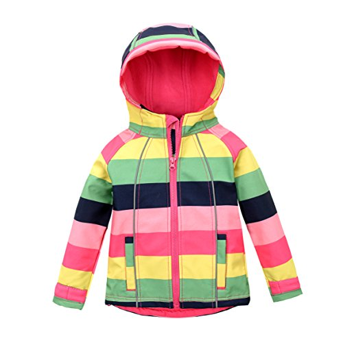 M2C Girls Hooded Fleece Jacket Striped Windproof Softshell Windbreaker Pink 5T