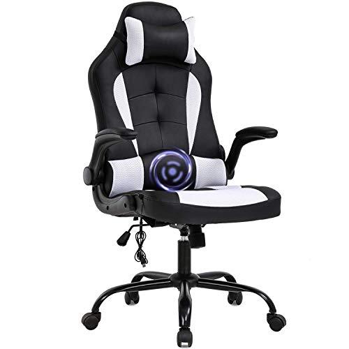 Silla de oficina para juegos, silla de escritorio, de masaje, ergonómica, de piel sintética, con apoyo lumbar, reposabrazos, silla giratoria de carreras para mujeres y adultos, color azul y blanco