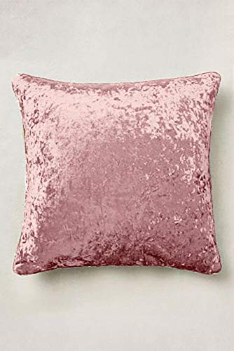 Value Comfort Home Set of 2 - Large Super Soft CRUSHED VELVET Filled Cushions Blush Pink