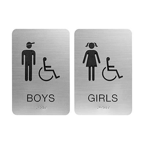 Boys Girls Ada Restroom Bathroom Sign W Braille Silver Wantitall