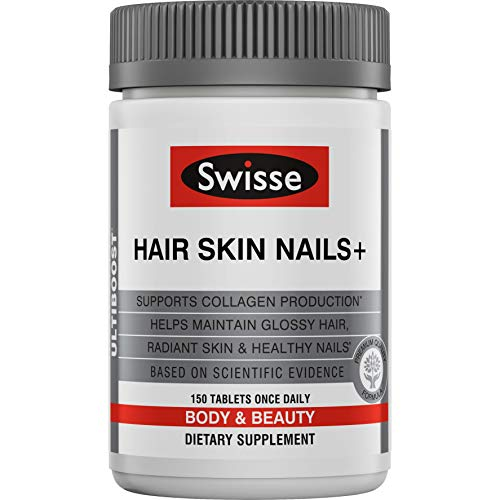 hair skins Swisse Ultiboost Hair Skin Nails Supplement   Premium Beauty Formula, Supports Collagen Production   Rich in Vitamin C & Silica, Plus Biotin   150 Tablets (SWW60050)