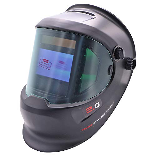 iMeshbean Pro Large Viewing Auto Darkening Welding Helmet Solar Powered Pro True Color Auto Dim Welding Grinding Hood Mask with Side View DIN 4/9-13 for Tig Mig Arc Welding Plasma Cutting