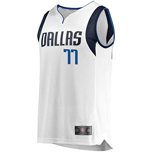 CJQH Camiseta de baloncesto al aire libre Dallas Doncic NO.77 Luka Mavericks Fast Break Hombres Réplica Jersey Transpirable Ropa Deportiva Para Hombres-Asociación Edición-Blanco