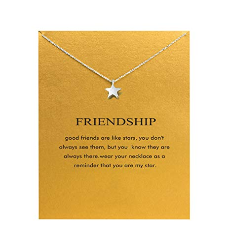 Hundred River Friendship Necklace Star Pendant Chain Necklace with Message Card Gift Card (Star 2s)
