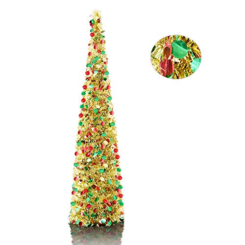 5' Gold Point Pop-Up Artificial Christmas Tree,Collapsible Pencil Christmas Trees for Apartments,Fireplace