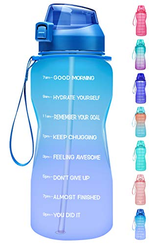 Fidus Large Half Gallon 64oz Motivational Water Bottle with Time Marker & Straw,Leakproof Tritan BPA Free Water Jug,Ensure You Drink Enough Water Daily for Fitness,