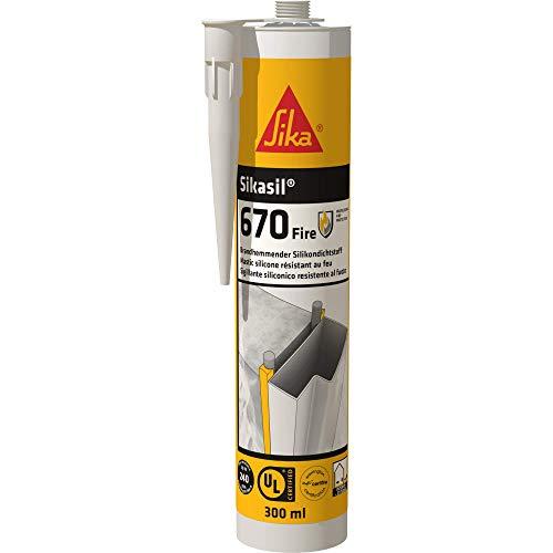 Sikasil-670 Fire, Blanco, Sellador de silicona, elástico con resistencia al fuego para interiores y exteriores en muros y pavimentos, 300 ml