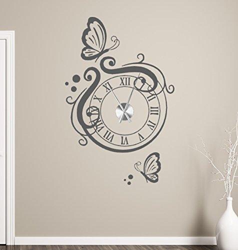 tjapalo® gr-tku2 Wanduhr Wandtattoo Uhr Wohnzimmer Wandsticker Wandaufkleber mit Schmetterlingen und edlem Uhrwerk (Höhe 90cm x Breite 58cm)