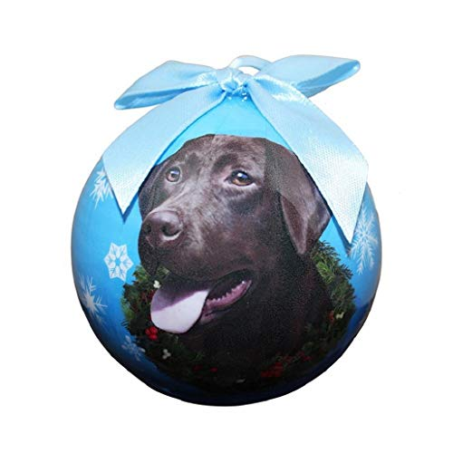 Chocolate Lab Christmas Ornament Shatter Proof Ball