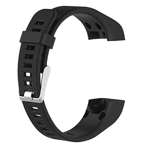 LOKEKE Correa de silicona para reloj inteligente Garmin Vivosmart HR+ (silicona negra)