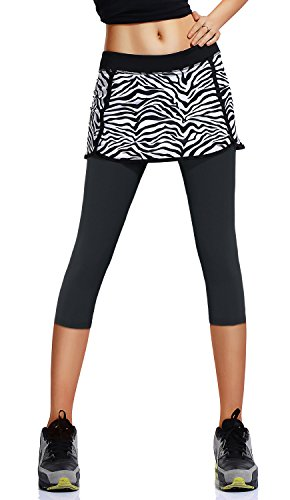 HonourSport Donna Pantalone Capri Leggings con Gonna da Tennis Rock 3/4 Stampa Tessuto
