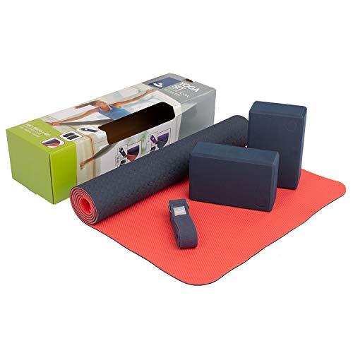 Bodhi Yoga-Set Flow | Set bestehend aus: 1 Yogamatte aus TPE, 2 Yoga-Bricks aus Eva (Moosgummi) und 1 Yoga-Gurt aus Baumwolle | Einsteiger-Set für Yoga-Anfänger (blau)