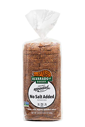 Alvarado Street Bakery Sprouted No Salt Added Bread Loaf - Multigrain Bread For Toast, Paninis and Sandwiches - Sliced Bread Made with Organic Sprouted Wheat - Vegan & No GMOs - 24 oz. (2 Pack)