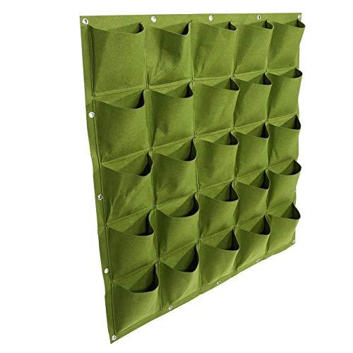 PULUSI - Maceta Vertical con múltiples Bolsillos para Plantas, para Interiores y Exteriores, Maceta de Cultivo de Hierbas, Color Verde