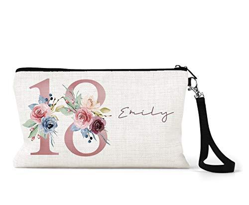 BagBeauty Trousse de maquillage personnalisable en lin Crème 18 ans Cadeau d'anniversaire Motif floral Rose/bleu