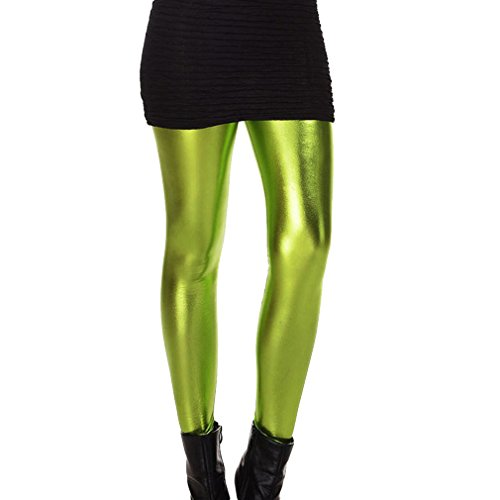 Mxssi Frauen Mädchen Metallic Shiny Sparkle Spandex Kunstleder Leggings Hosen PVC Wet Look Club Hose