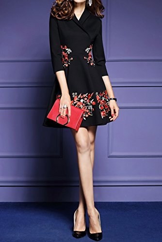 Women's Premium V neck Embroidered Floral 2/3 Sleeves Skater Cocktail Dress,Black,X-Large