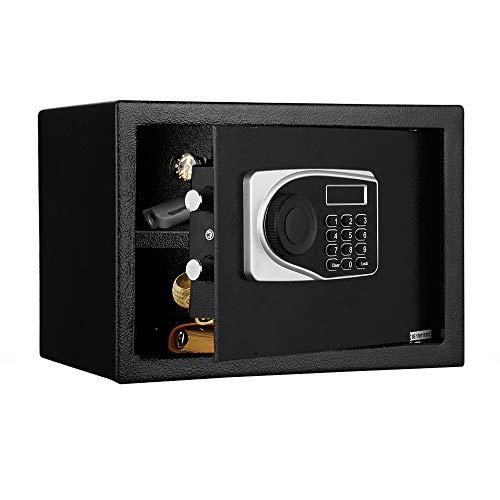 Caja fuerte de seguridad electrónica con cerradura de combinación con pantalla LCD, 2 llaves para apertura de emergencia, 16 L, 35 x 25 x 25 cm